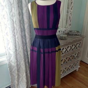 NWOT BCBG Maxazria Pleated Color Block Dress